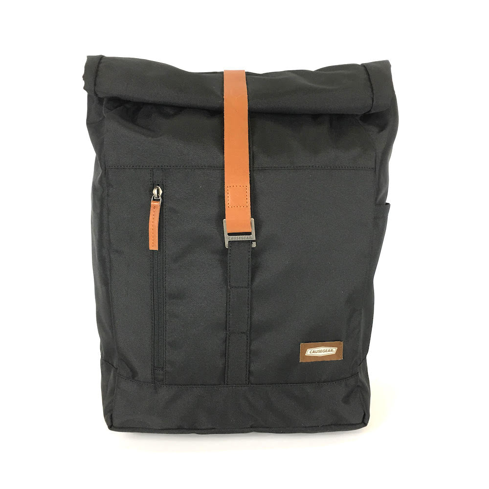 lightweight roll top backpack. best roll top backpack waterproof. canvas roll top bag. best roll top backpack. rolling backpacks. eco friendly roll top backpack. 100recycled backpack. socially responsible backpacks. backpacks made from recycled materials. sustainable travel bag. black