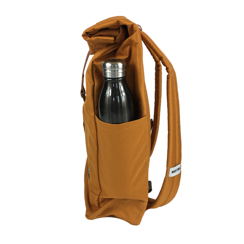 lightweight roll top backpack. best roll top backpack waterproof. canvas roll top bag. best roll top backpack. rolling backpacks. eco friendly roll top backpack. 100recycled backpack. socially responsible backpacks. backpacks made from recycled materials. sustainable travel bag. burnt orange