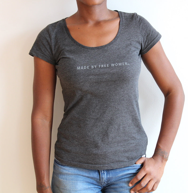 organic cotton & recycled polyester T-shirt. made free. cause gear. henna. black. made by free woman