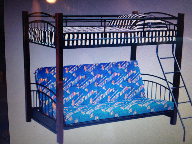 AWF344 Wood & Iron Futon Bunkbed