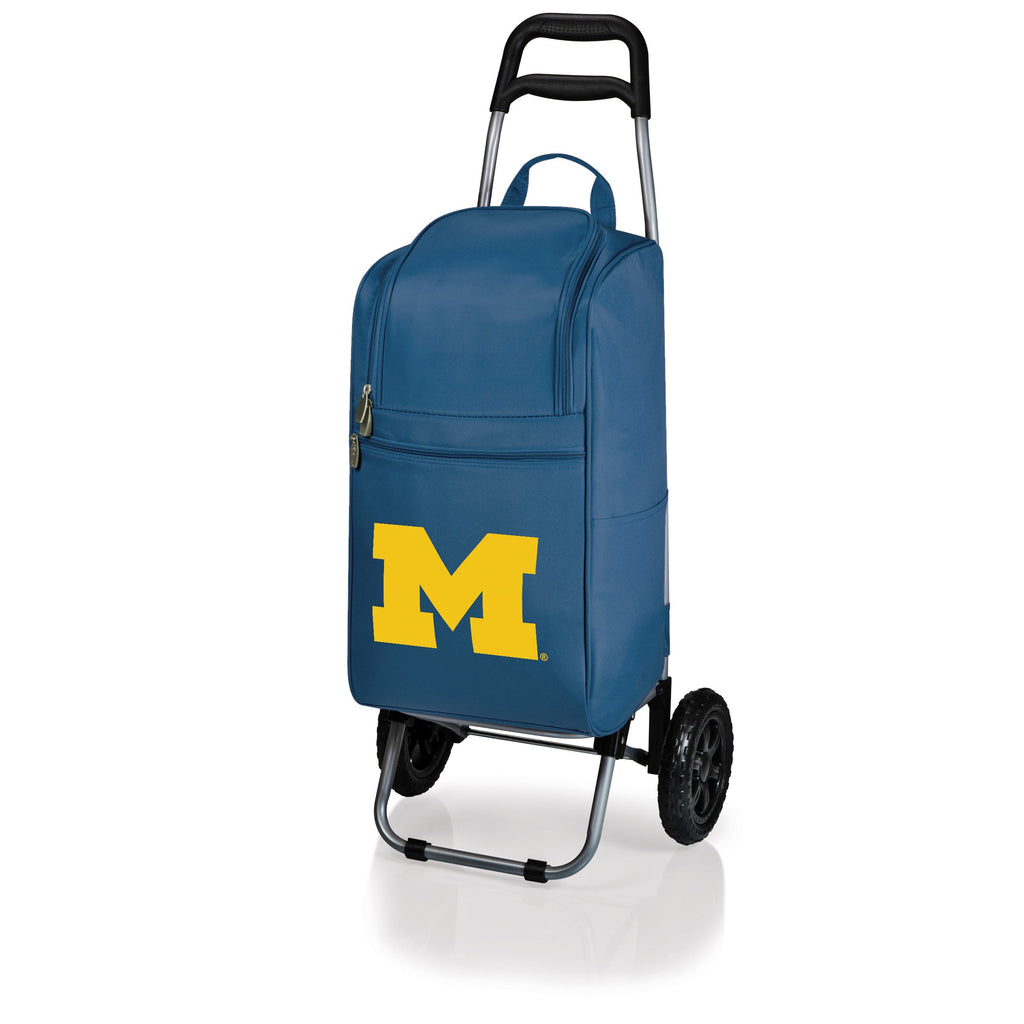 Michigan Wolverines Cart Cooler with Trolley-Navy Digital Print