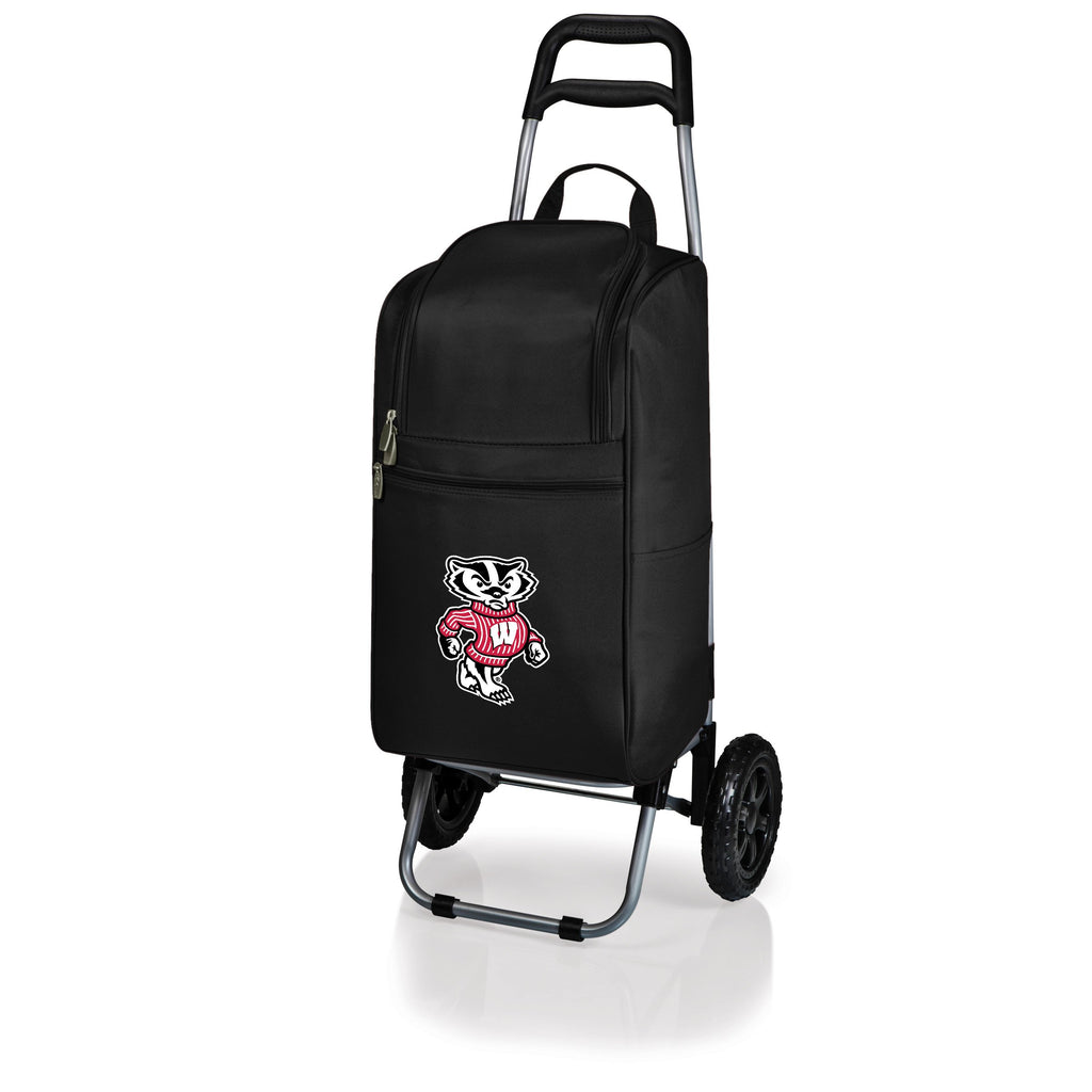 Wisconsin Badgers Cart Cooler with Trolley-Black Digital Print