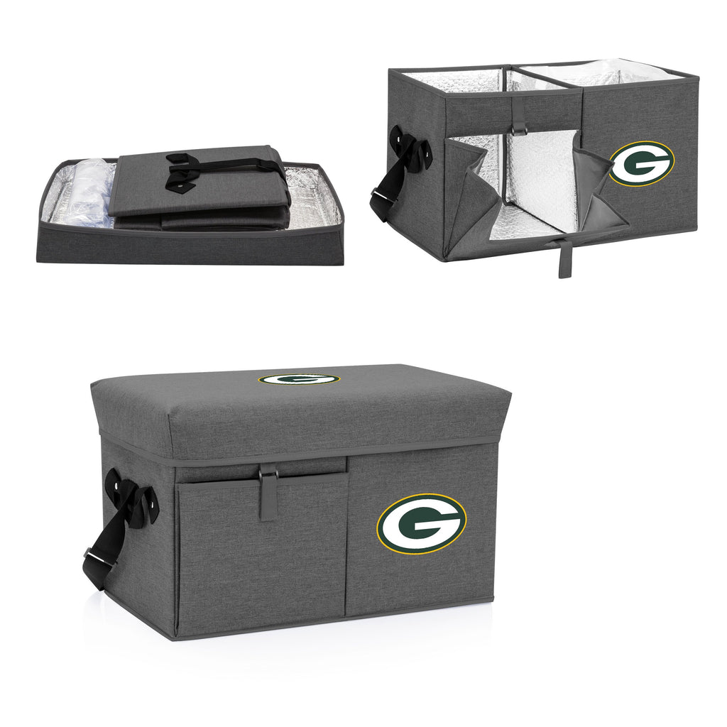 Green Bay Packers Ottoman Cooler & Seat-Grey Digital Print