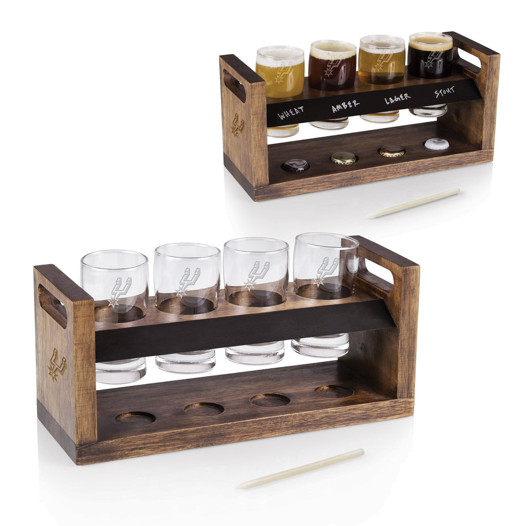 San Antonio Spurs 'Craft Beer Flight' Beverage Sampler-Acacia Laser Engraving