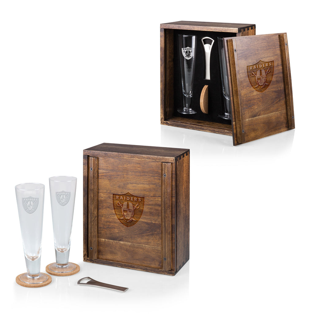 Oakland Raiders 'Pilsner' Beer Gift Set-Acacia Laser Engraving