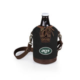 New York Jets Growler Tote w/Glass Growler-Black Digital Print
