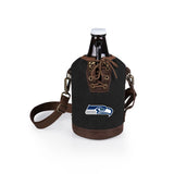 Seattle Seahawks Growler Tote w/Glass Growler-Black Digital Print