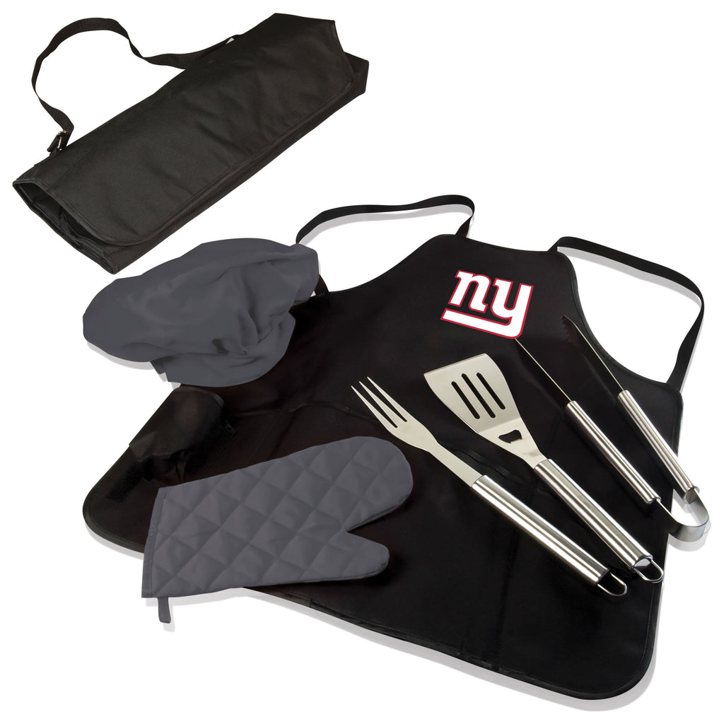 New York Giants BBQ Apron Tote Pro with Tools-Black Digital Print