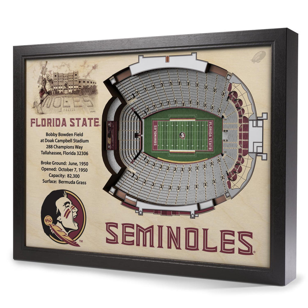 Florida State Seminoles 25-Layer Stadium View 3D Wall Art