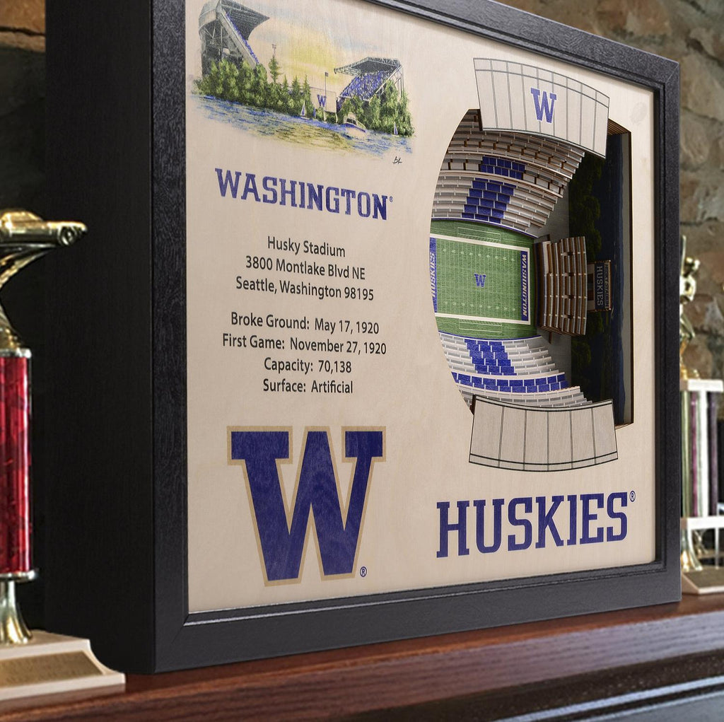 Washington Huskies 25-Layer Stadium View 3D Wall Art