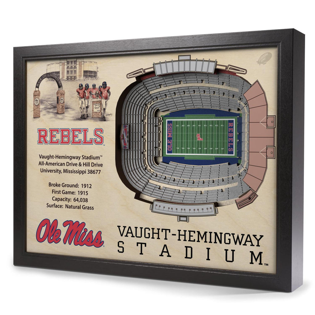 Mississippi Old Miss Rebels 25-Layer Stadium View 3D Wall Art