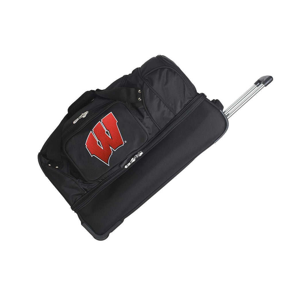 Wisconsin Badgers 27in Wheeled Duffel Nylon bag-BLACK