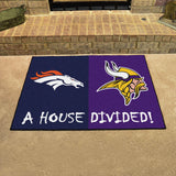 "NFL - Broncos - Vikings House Divided Rug 33.75""x42.5"""