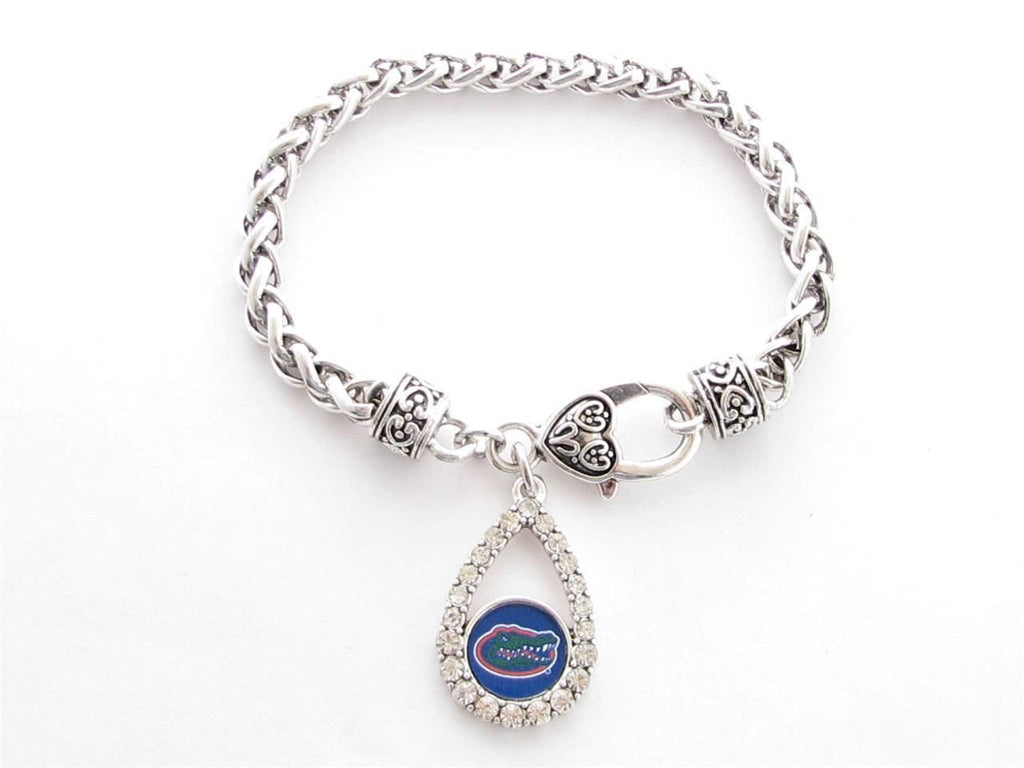 Bracelet - Florida Gators NCAA Teardrop Clear Crystal Silver Bracelet