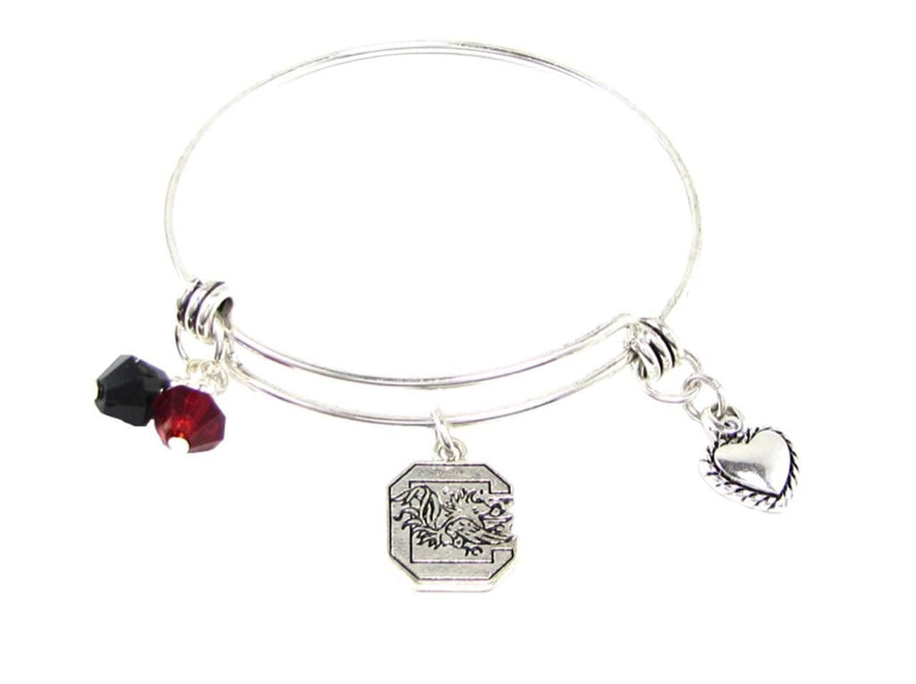 Bracelet - South Carolina Gamecocks NCAA Austrian Crystal Heart Logo Bracelet
