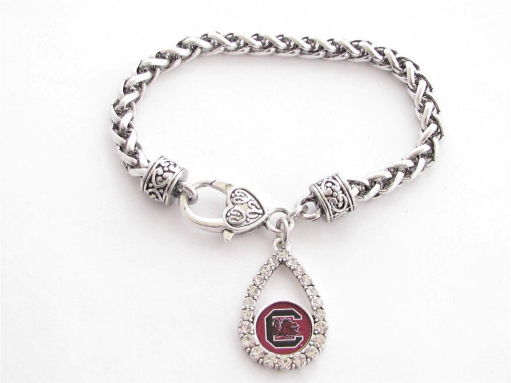 Bracelet - South Carolina Gamecocks NCAA Teardrop Clear Crystal Silver Bracelet
