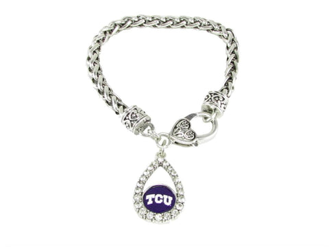 Bracelet - TCU Horned Frogs NCAA Teardrop Clear Crystal Silver Bracelet