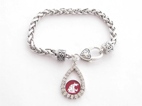 Bracelet - Washington State Cougars NCAA Teardrop Clear Crystal Silver Bracelet