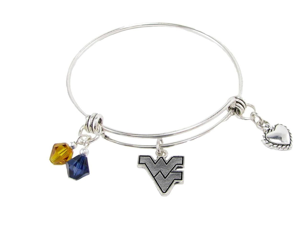 Bracelet - West Virginia Mountaineers NCAA Austrian Crystal Heart Logo Bracelet