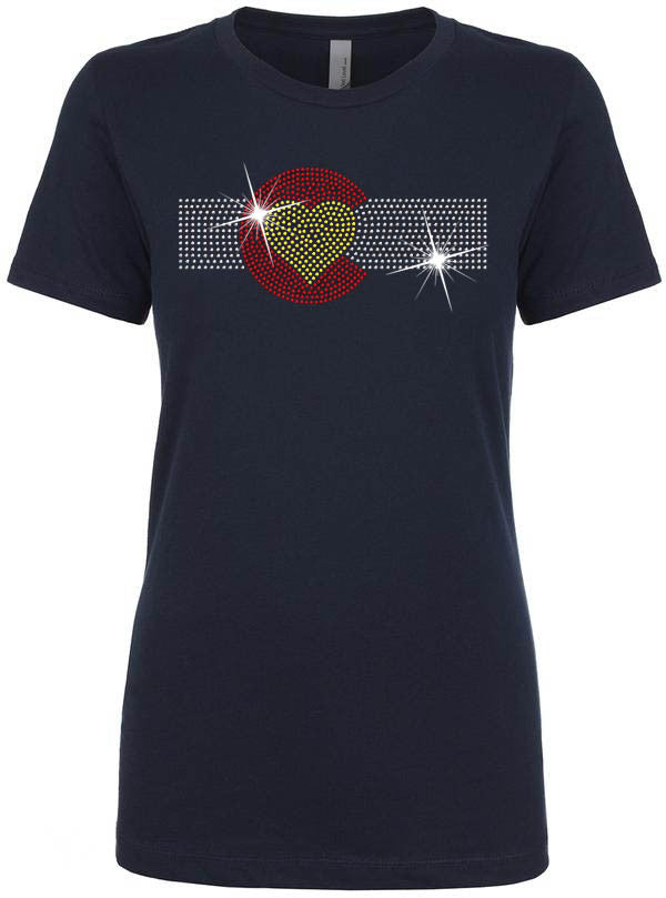 Rhinestone Colorado State Flag Heart Shirt - Navy Blue