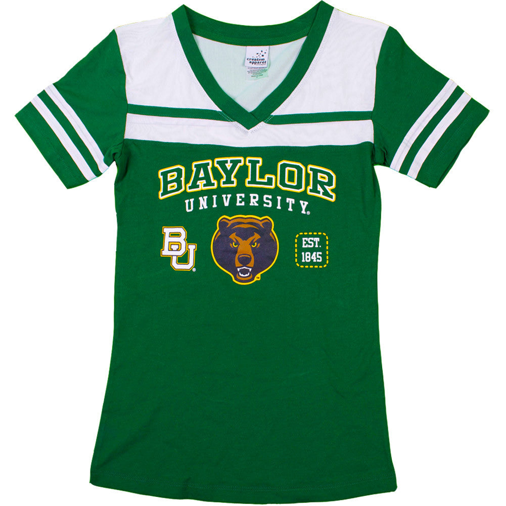 Collegiate - Baylor Bears Green Jersey Shirt With Rhinestone Accents