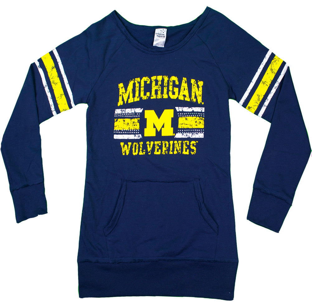 Collegiate - Michigan Wolverines Women's Long Sleeve Shirt With Handwarmer Pocket
