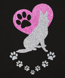 German Shepherd Paw Heart Glitter Infused Yoga Pants
