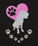 Mastiff Paw Heart Glitter Infused Yoga Pants