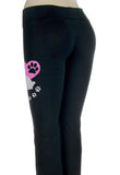 Pug Paw Heart Glitter Infused Yoga Pants