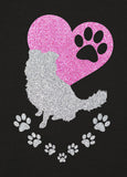Border Collie Paw Heart Glitter Infused Yoga Pants