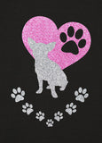 Chihuahua Paw Heart Glitter Infused Yoga Pants