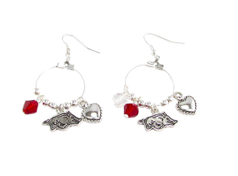 Earrings - Arkansas Razorbacks NCAA Austrian Crystal Heart Logo Earrings
