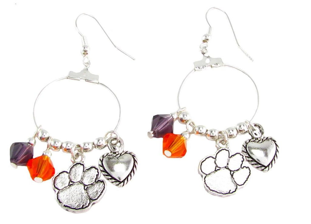 Earrings - Clemson Tigers NCAA Austrian Crystal Heart Logo Earrings
