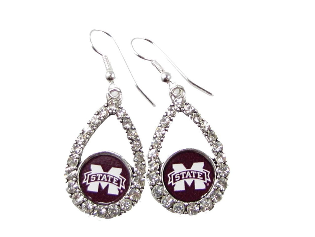 Earrings - Mississippi State Bulldogs NCAA Teardrop Silver Crystal Rhinestone Earrings