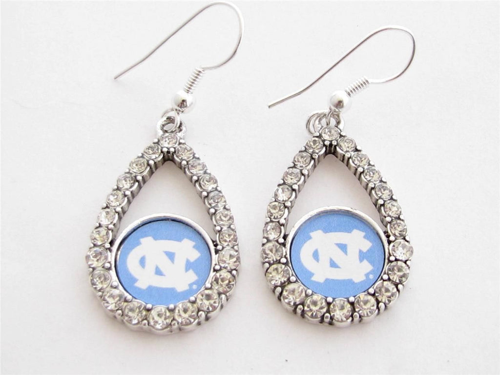 Earrings - North Carolina Tar Heels NCAA Teardrop Silver Crystal Rhinestone Earrings