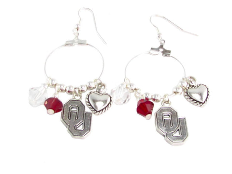 Earrings - Oklahoma Sooners NCAA Austrian Crystal Heart Logo Earrings