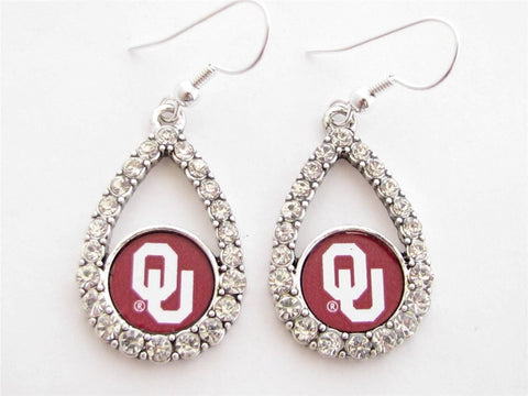 Earrings - Oklahoma Sooners NCAA Teardrop Silver Crystal Rhinestone Earrings