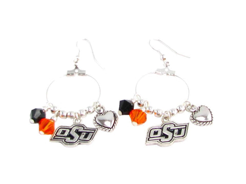 Earrings - Oklahoma State Cowboys NCAA Austrian Crystal Heart Logo Earrings