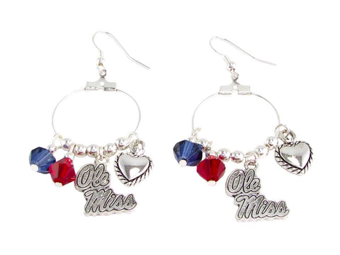 Earrings - Ole Miss Rebels NCAA Austrian Crystal Heart Logo Earrings