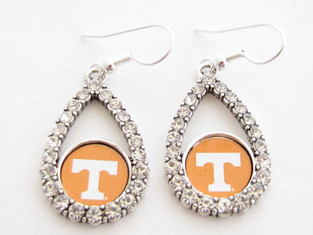 Earrings - Tennessee Volunteers NCAA Teardrop Silver Crystal Rhinestone Earrings