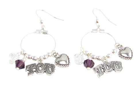 Earrings - Texas Christian Horned Frogs NCAA Austrian Crystal Heart Logo Earrings