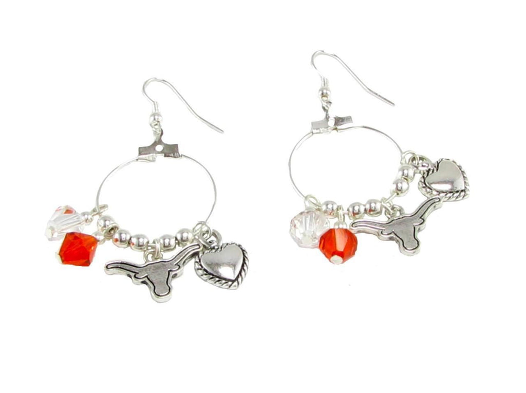 Earrings - Texas Longhorns NCAA Austrian Crystal Heart Logo Earrings