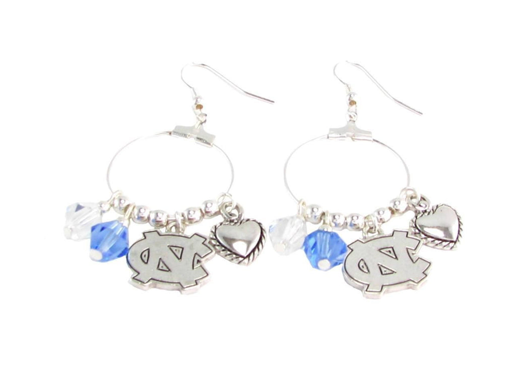 Earrings - UNC Tar Heels NCAA Austrian Crystal Heart Logo Earrings