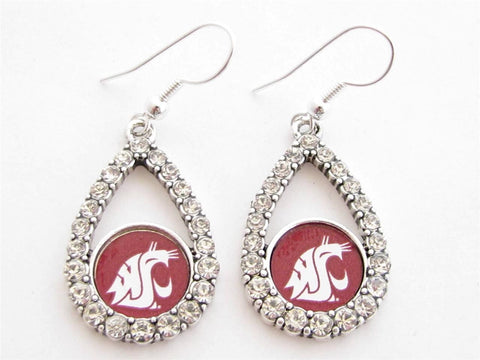 Earrings - Washington State Cougars NCAA Teardrop Silver Crystal Rhinestone Earrings
