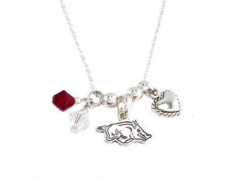Necklace - Arkansas Razorbacks NCAA Austrian Crystal Silver Necklace