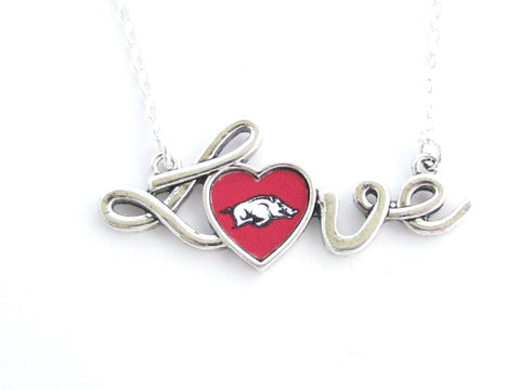 Necklace - Arkansas Razorbacks NCAA Love Script Silver Necklace