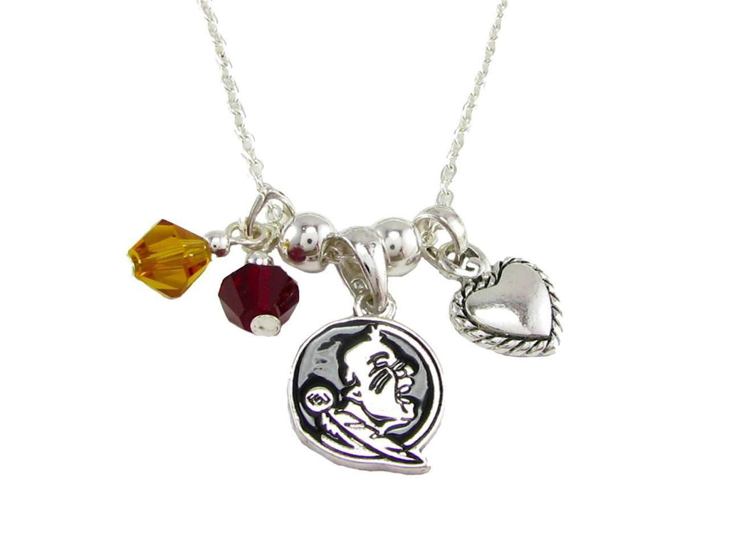 Necklace - Florida State Seminoles NCAA Austrian Crystal Silver Necklace