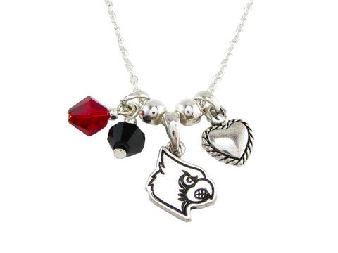 Necklace - Louisville Cardinals NCAA Austrian Crystal Silver Necklace