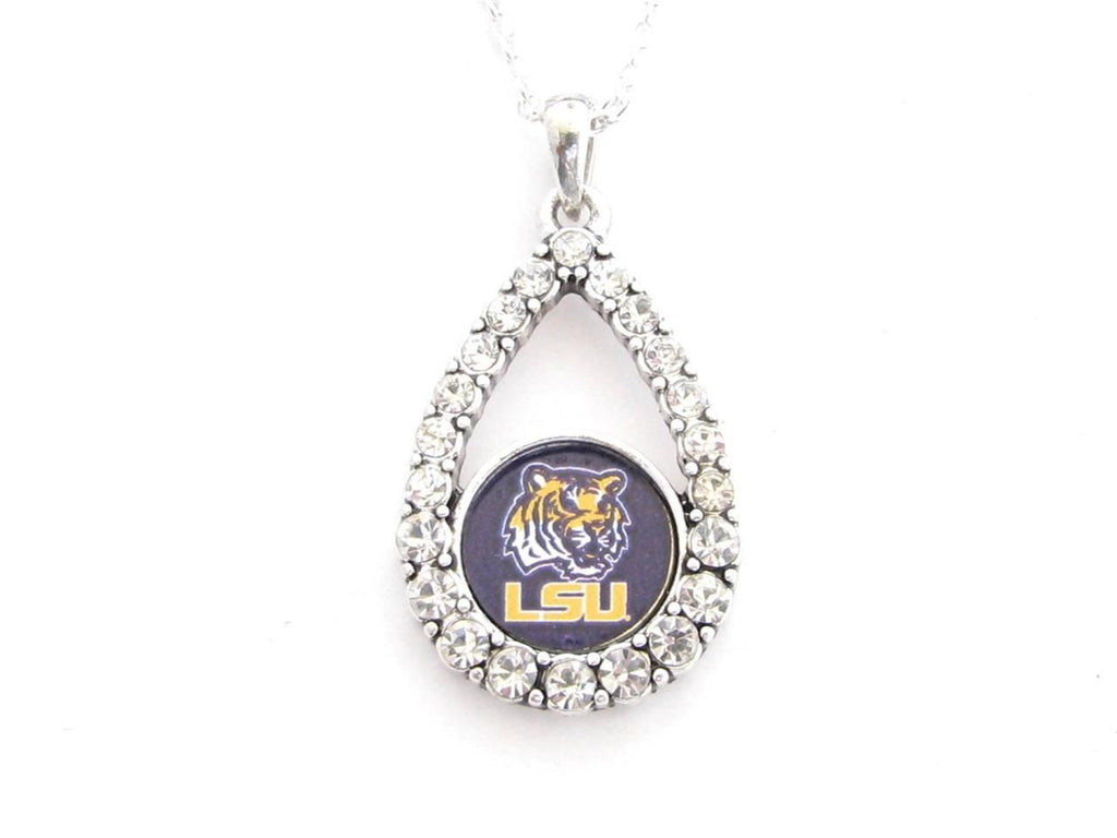 Necklace - LSU Tigers NCAA Teardrop Clear Crystal Silver Necklace