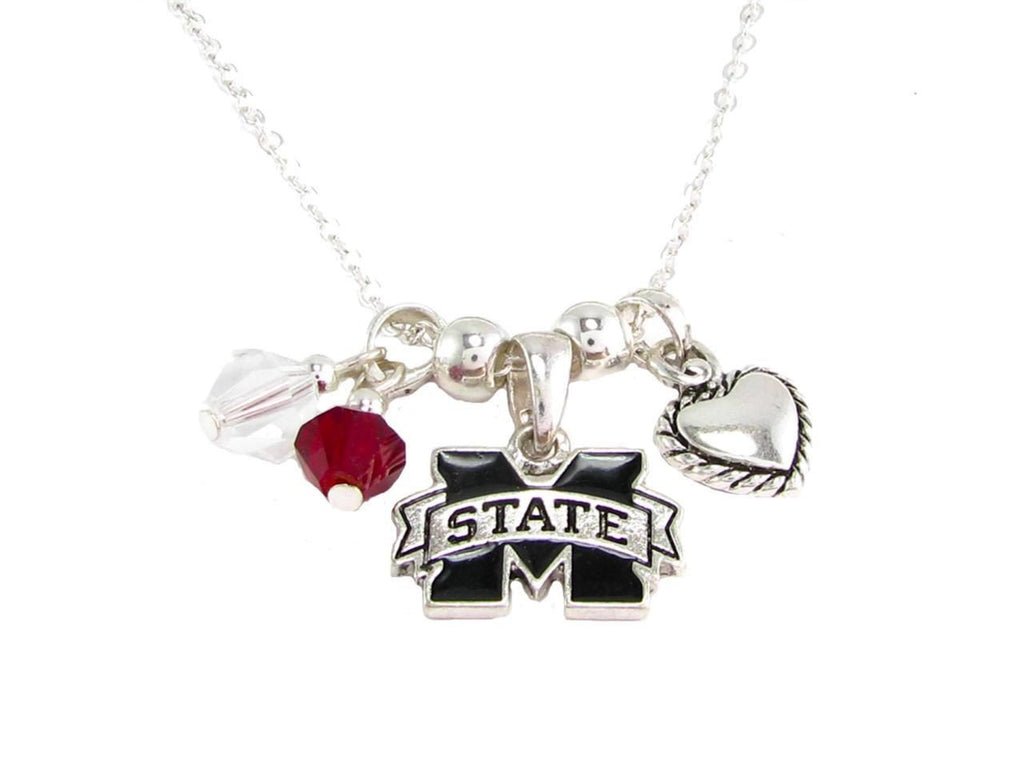 Necklace - Mississippie State Bulldogs NCAA Austrian Crystal Silver Necklace